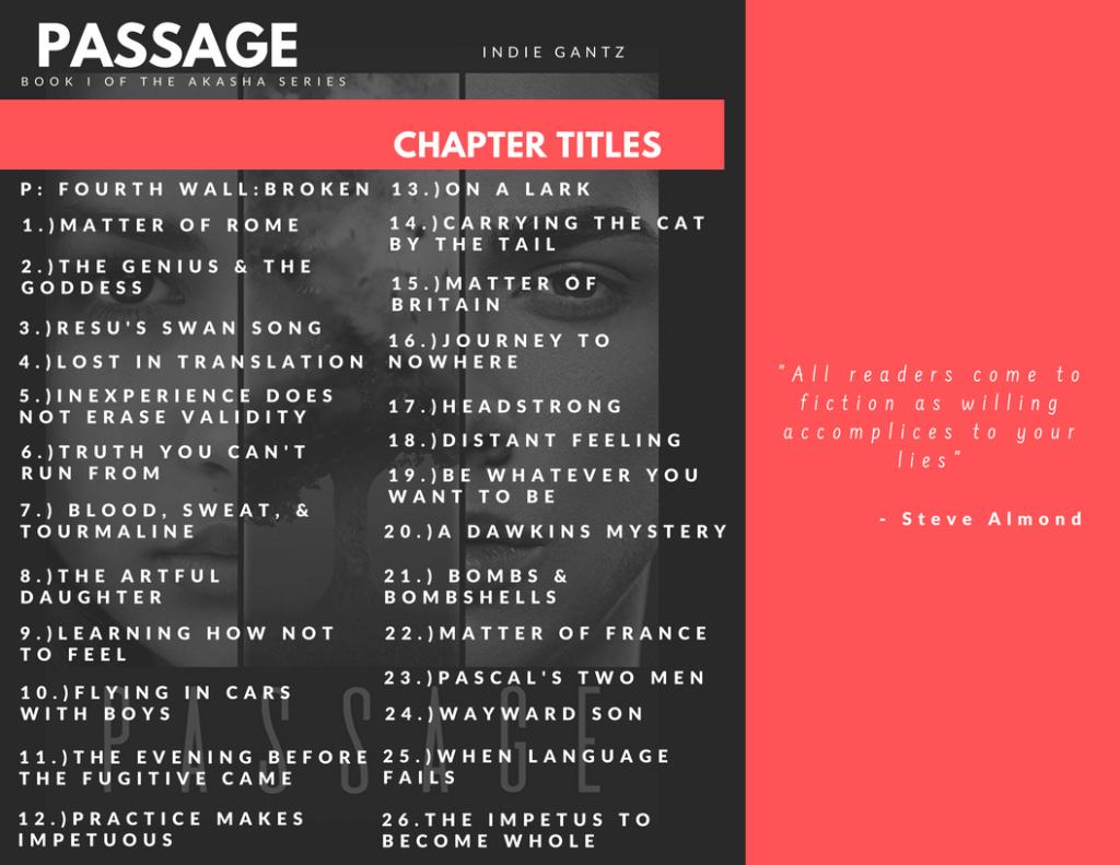 Chapter Titles: Passage by Indie Gantz | Tour organized by YA Bound | www.angeleya.com