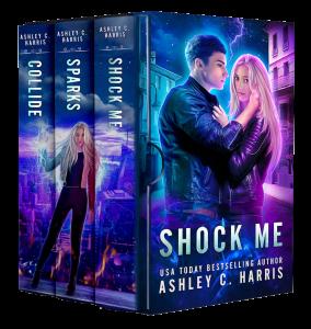 Shock Me (3D Boxset view) by Ashley C. Harris   Tour organized by XPresso Book Tours   www.angeleya.com